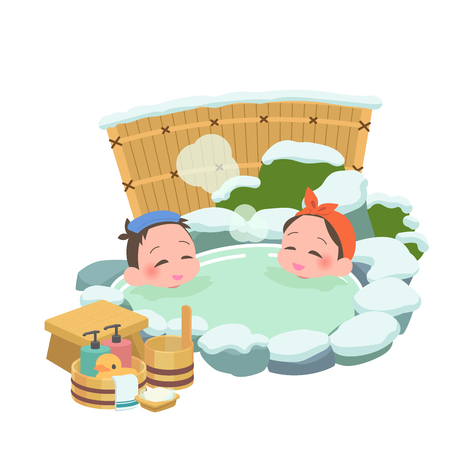 Open-air bath mixed male and female winter Illustration