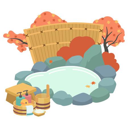 Open-air bath autumn Ilustração