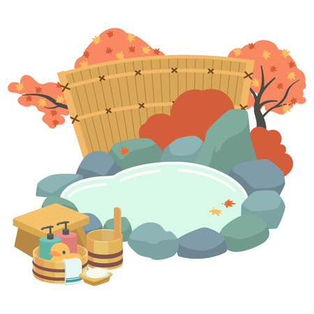 Open-air bath autumn Illustration