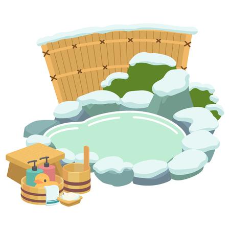 Winter outdoor hot spring bath