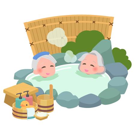 Open-air bath senior Vectores