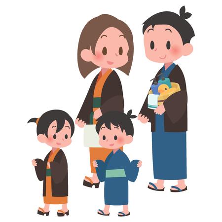 Ryokan yukata family