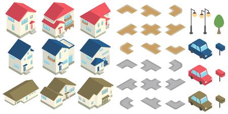 House housing isometric set  イラスト・ベクター素材
