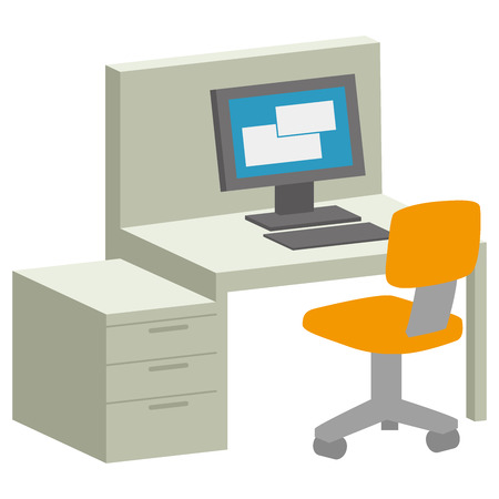 Business Desk computer  イラスト・ベクター素材