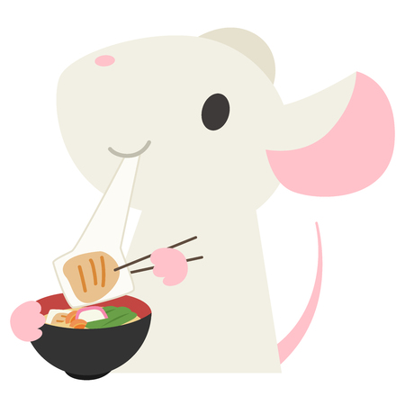 Mouse eating a rice cake soup  イラスト・ベクター素材