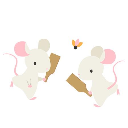 Rats with hagoita  イラスト・ベクター素材