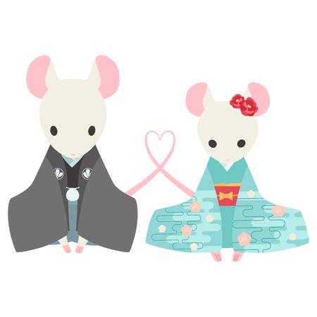 mice in kimono  イラスト・ベクター素材