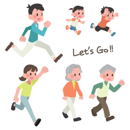 3 households people runs illustration set  イラスト・ベクター素材