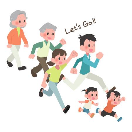 3 famiglie le persone corrono