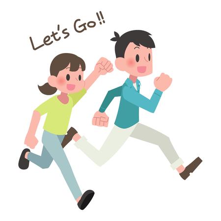 Men and women running  イラスト・ベクター素材