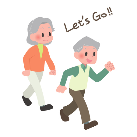 Senior walk Illustration