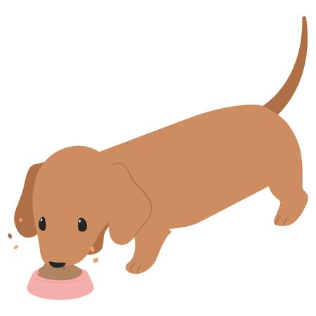 Comida de perro salchicha para comer ilustración