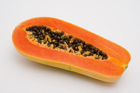 cranny: papaya on white background