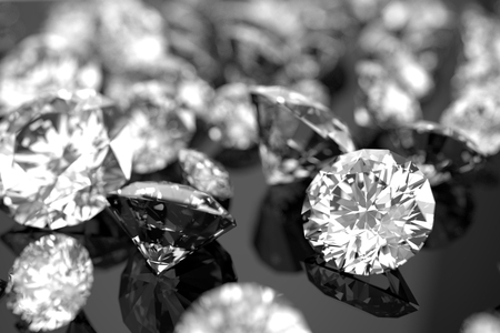 diamonds on black background with selected focus