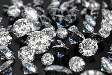 黒の背景に高級ダイヤモンド 写真素材
