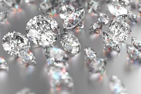 Luxury diamonds on white backgrounds