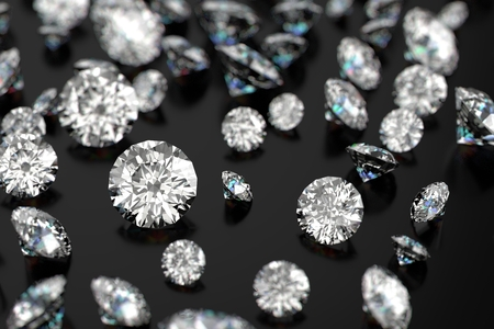 diamantina: Diamantes de lujo en fondos negros Foto de archivo