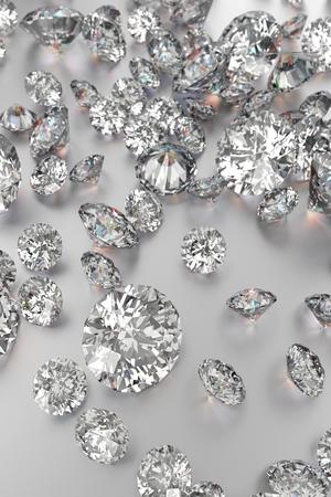 Diamanti di lusso su sfondi bianchi