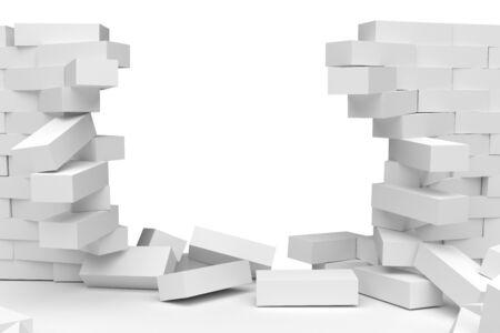 destruction: Destruction of a white brick wall on white background