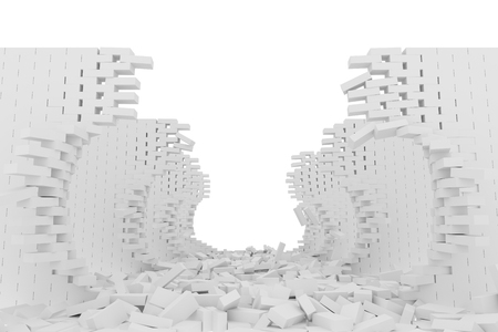 Destruction of a white brick wall on white background