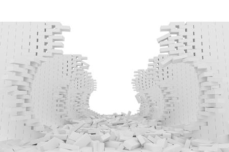 raze: Destruction of a white brick wall on white background