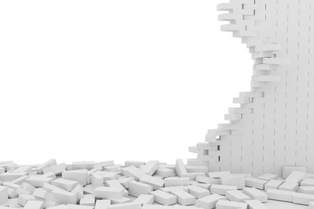 demolish: Destruction of a white brick wall on white background