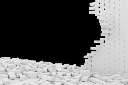 raze: Destruction of a white brick wall on black background