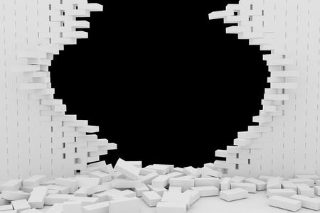 rebuild: Destruction of a white brick wall on black background