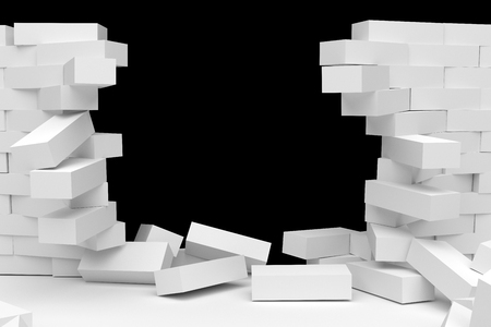 collapsed: Destruction of a white brick wall on black background