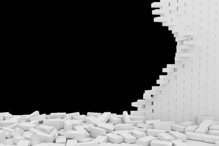 Destruction of a white brick wall on black background