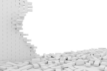 rebuild: Destruction of a white brick wall on white background