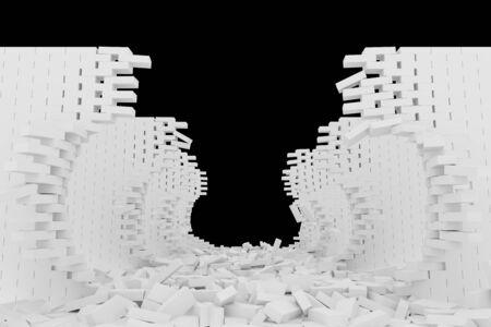 destruction: Destruction of a white brick wall on black background