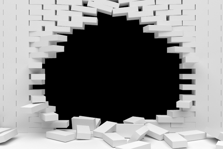 demolish: 3D rendering Destruction of a white brick wall on white background