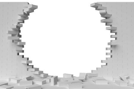 raze: 3D rendering Destruction of a white brick wall on white background