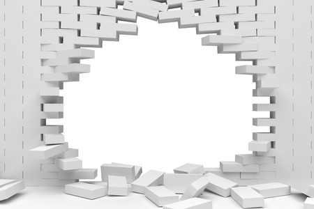 collapsed: 3D rendering Destruction of a white brick wall on white background
