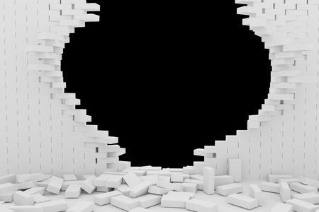 destruction: 3D rendering Destruction of a white brick wall on black background