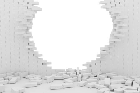 destruction: 3D rendering Destruction of a white brick wall on white background