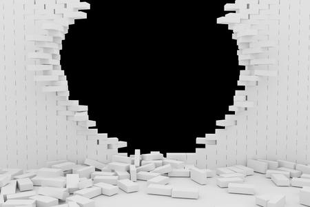 raze: 3D rendering Destruction of a white brick wall on black background