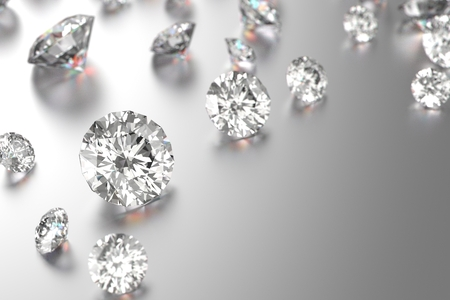 3D rendering Luxury diamonds on black background Stock Photo