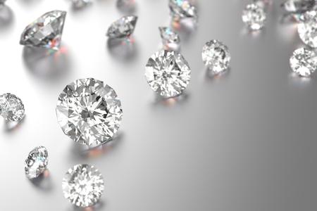 3D-Rendering-Luxus-Diamanten auf schwarzem Hintergrund