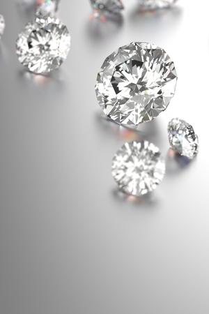 3D rendering Luxury diamonds on black background Stock Photo