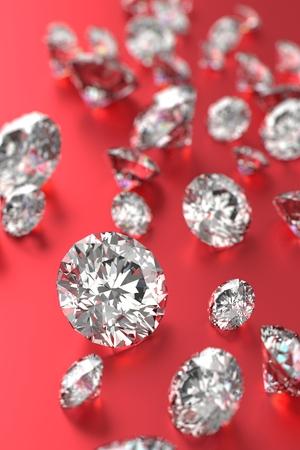 3D rendering Luxury diamonds on red background