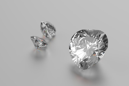 3D rendering Luxury diamonds on white background