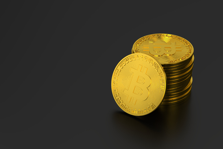 bitcoin on black background Imagens