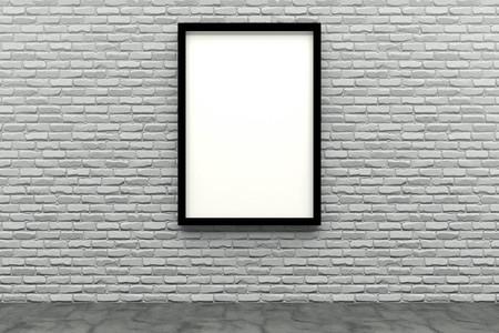 3d render black Photo frame on white brick wall