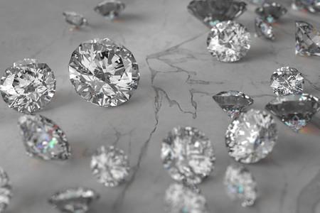 3D rendering Luxury diamonds on marble background 版權商用圖片