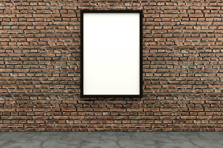 3d render black Photo frame on brown brick wall Stock Photo