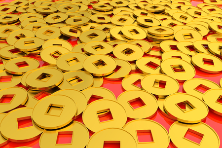 3d renderring chinese gold coin on red background