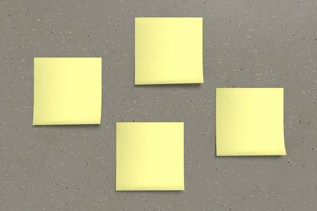 4 3d rendering yellow sticky note on background Stock Photo