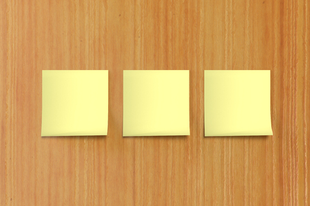 3 3d rendering yellow sticky note on background